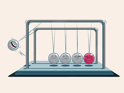 Newton's Cradle cartoon illustration emotions anger happy moodswing stress toy executive desktop toy newtons cradle