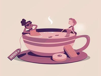 Detox bath soak illustration biscuit coffee tea mug cup women girls relax meditation relaxation detox