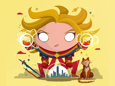 Chubby Captain Marvel fanart illustration goose woman comics superhero marvel carol danvers captain marvel
