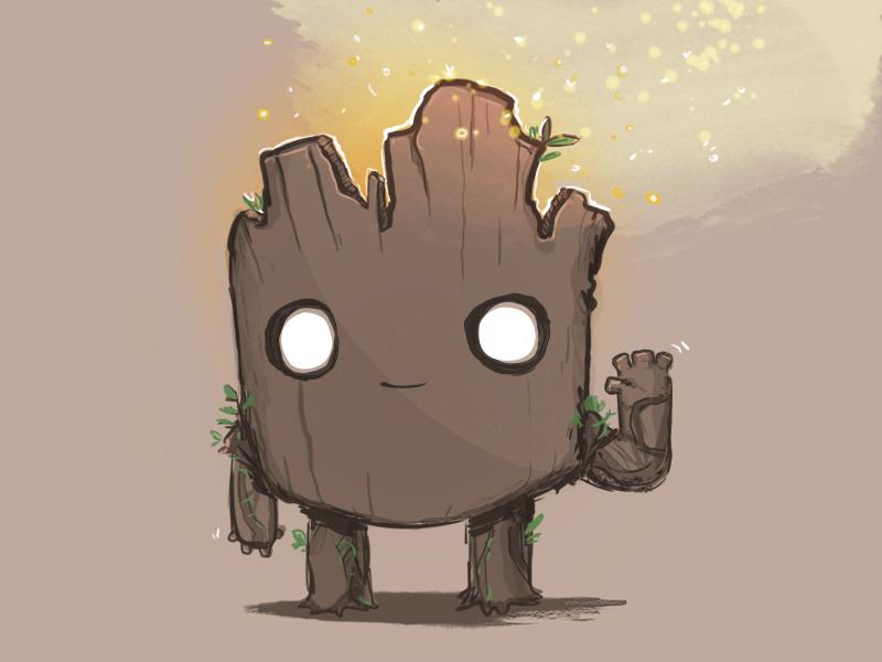 I Am Groot cartoon illustration comics marvel root tree alien guardians of the galaxy groot