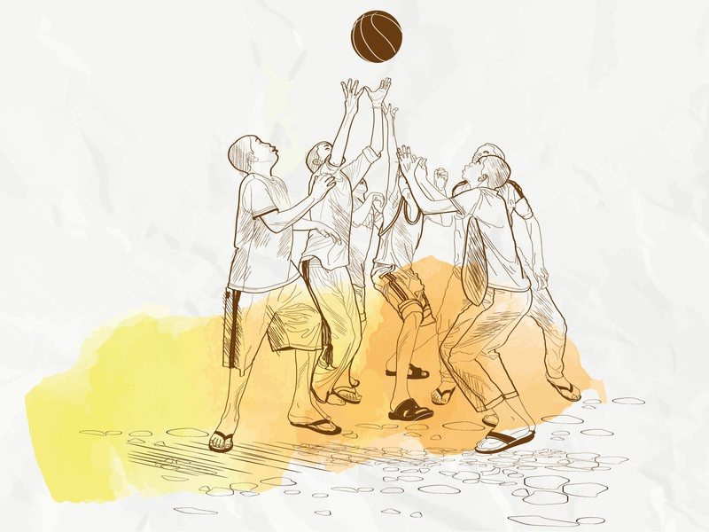 Sketch illustration of boys playing ball