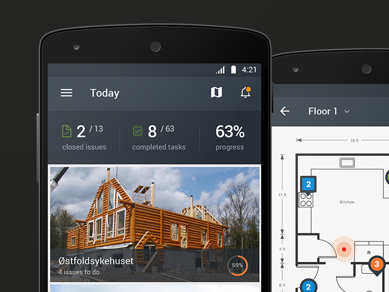 Workspace for Android map floor building design material android interface workspace