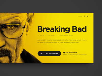 Movie Card breaking bad ui widget play movie watch trailer flat card tv imdb yellow