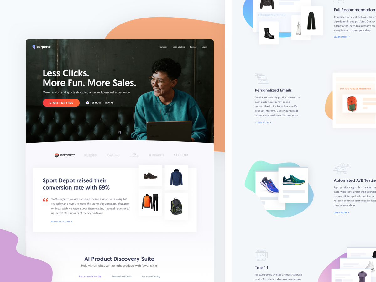 Perpetto Redesign online store products homepage saas landing page saas blob shop ecommerce