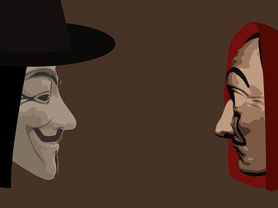 Day 20 - Face Off la casa de papel v for vendetta 100daychallenge design vector illustration