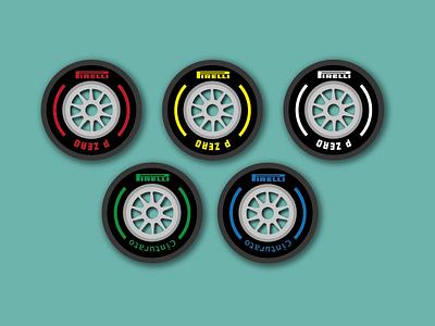 Day 24 - F1 Tyres tyre f1 formula1 pirelli cars 100daychallenge design vector illustration
