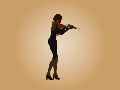 Day 38 - Murderess sexy rifle gun murderer deco 1920s 100daychallenge design vector illustration