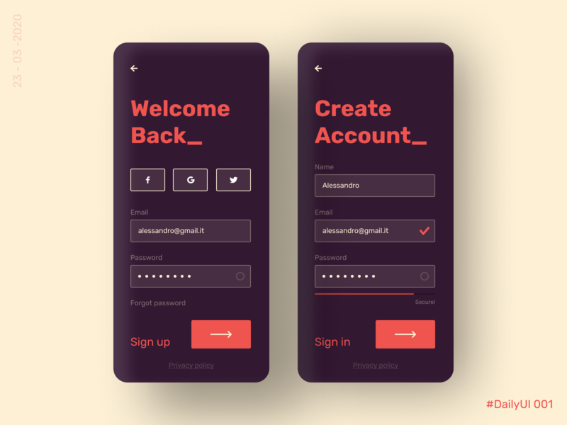 Sign Up - DailyUI 001