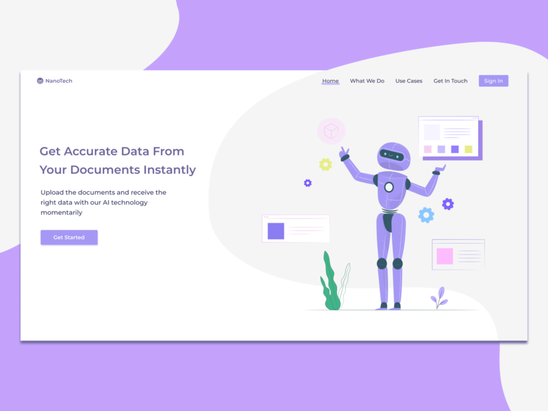Daily UI :: 003 | Landing Page hero banner pastel color pastel robot artificial intelligence ai trendy design ux ui daily ui web desktop daily ui 003 dailyuichallenge dailyui landing page landing app design app