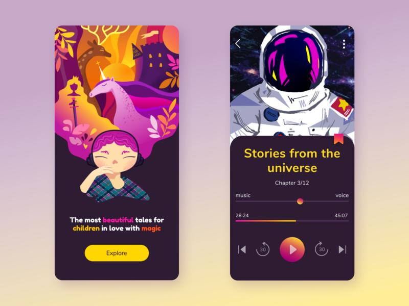 Audiotales children audiotales audiobook app ui design illustration