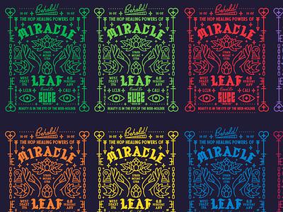 Miracle Leaf WIP beer labels craft beer hops packaging beer identity logo badge typography branding