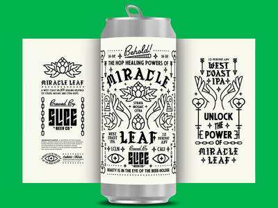 Miracle Leaf badge brews slice craft leaf miracle hops illustration typography packaging branding label craft beer beer