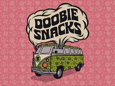 Doobie Snacks! 420 stoner hippie funky new font badge brethren lettering beer identity branding illustration typography type font chronic sans chronic scooby doo doobie