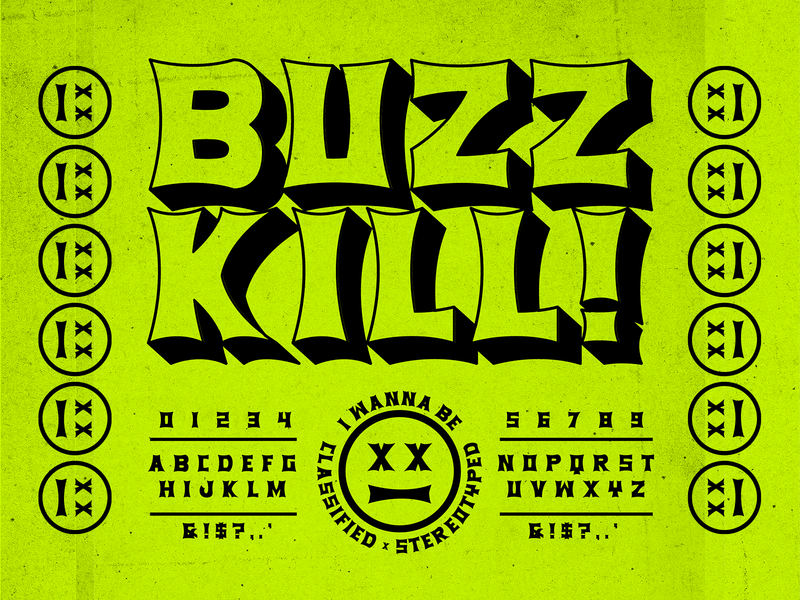BUZZKILL DISPLAY market neon killer xerox flyer punk rock display font new font font lettering brethren packaging logo badge apparel identity type branding typography