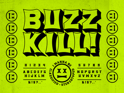 BUZZKILL DISPLAY market neon killer xerox flyer punk rock display font new font font lettering brethren packaging logo badge apparel identity type branding typography
