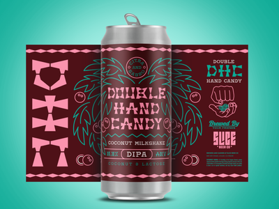 Double Hand Candy california miami milkshake ipa typography illustration beer label packaging coconut maui neon craft beer