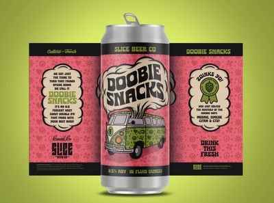 Doobie Snacks peace 420 hippie vw van scoobie doo craft beer beer label beer badge illustration type branding typography