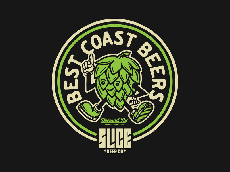 BEST COAST BEERS brewery ipa best coast character hoppy hops beer craft beer identity apparel type badge logo illustration branding typography