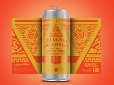 Goldener Triangles illumanati craft beer packaging brethren beer type badge logo illustration branding typography