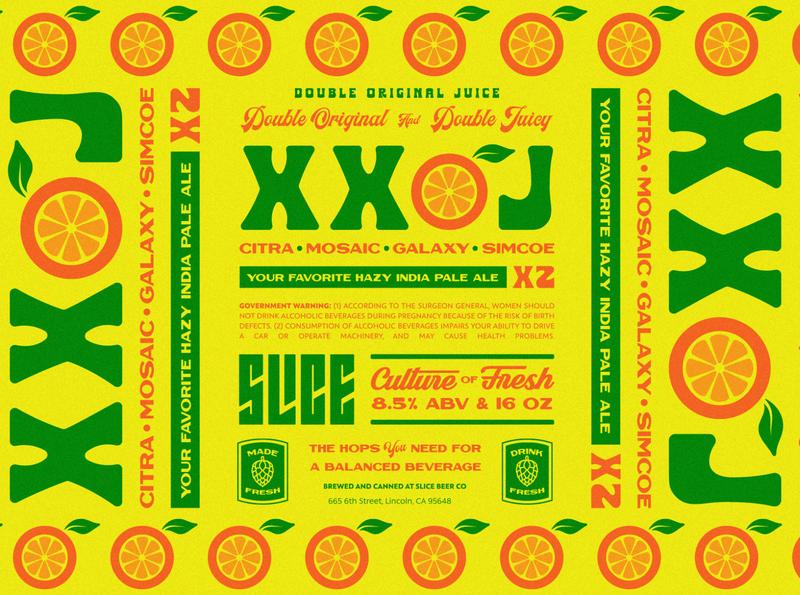 XXOJ hops original juice orange juice packaging craft beer lettering identity type badge logo illustration branding typography