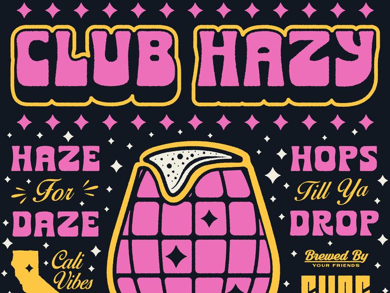 CLUB HAZY craft beer packaging lettering beer apparel type badge illustration branding typography