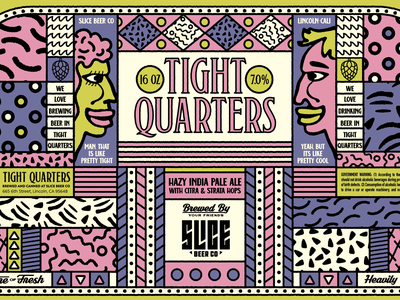 Tight Quarters hops craft beer packaging quarters tight weird funko pop funky and fresh french patterns funky vector branding identity badge illustration typography