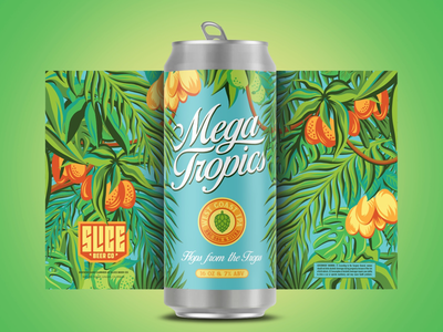 Mega Tropics vacation swimsuit jimmy buffet floral craft beer branding typography illustration hops plants tropical