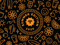 Summer 2020 badge iconography icon pattern flowers gold foil cocktails coffee craft beer packaging type logo badge illustration branding typography