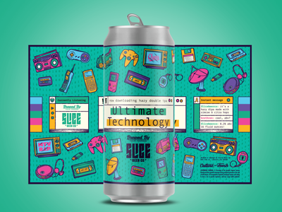 Ultimate Technology calculator talkboy retro old tech napster aol craft beer packaging identity beer badge typography branding illustration technology tech