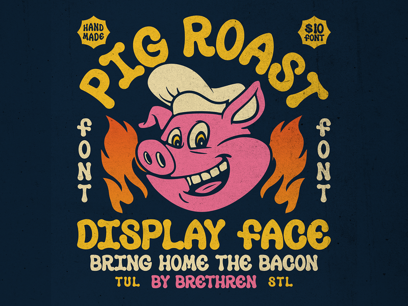 Pig Roast Display Font resources new font bacon display font fire pig packaging lettering identity type logo badge illustration branding typography