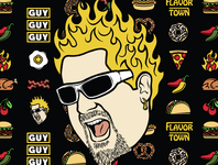 Guy Fieri Graphics typography identity badges bacon eggs apparel icons illustration food guy fieri guy flavortown