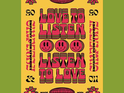 Adobe Make it Workshop empathy love listen workshop make it illustrator identity badge illustration typography
