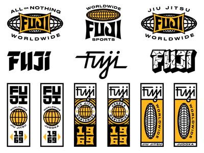 Fuji Graphics kit worldwide fuji tough apparel identity type branding illustration typography badges sports judoka jiu jitsu