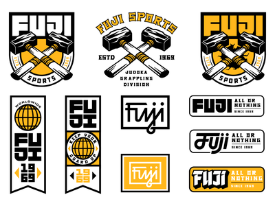 Fuji Graphics kit part 2 athletic sports worldwide mma fuji apparel identity type logo badge illustration branding typography strength judoka jiu jitsu