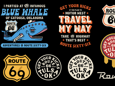 Route 66 Graphics tulsa travel whale blue whale design mark apparel badge branding typography illustration