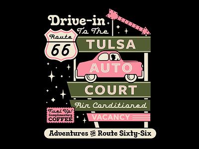 Tulsa Auto Court mother road travel motel route 66 retro vintage signage vector apparel branding illustration badge typography