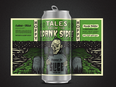Tales From The Dank Side spooky scary dead beer label craft beer crypt halloween horror badge packaging beer identity branding illustration typography