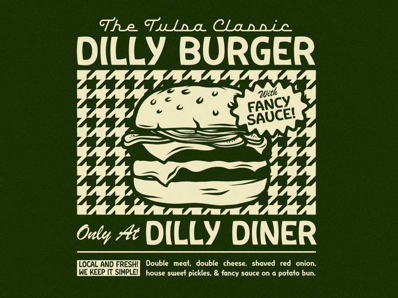 DILLY BURGER houndstooth vintage diner restaurant tulsa food burger beer apparel badge branding illustration typography
