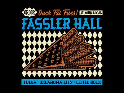 Fassler Hall bar food little rock okc tulsa pub german fries duck fat fries design apparel identity badge illustration branding typography