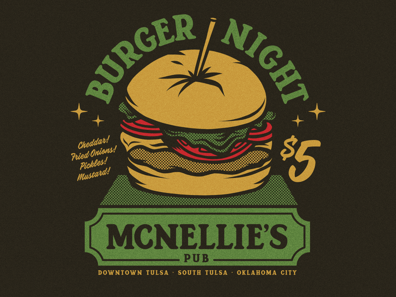 McNellie's Pub deals vintage food okc tulsa pub burgers beer design apparel logo badge illustration branding typography