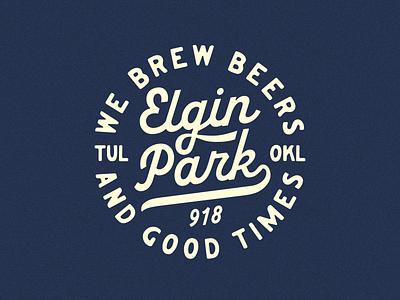 Elgin Park pizza beers brewery tulsa bar type apparel badge typogaphy baseball vintage