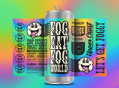 FOG EAT FOG WORLD gradient trippy foggy slice dipa hazy cloud craft beer brethren packaging beer identity logo badge illustration branding typography