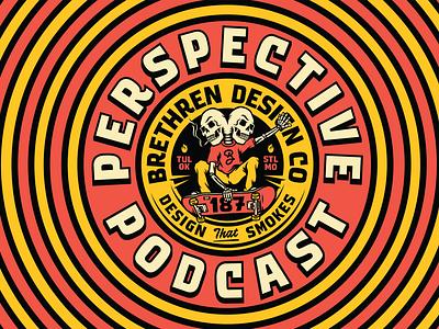 Perspective Podcast ep187 skulls skateboarding logo branding packaging identity typography badge illustration podcast art podcast
