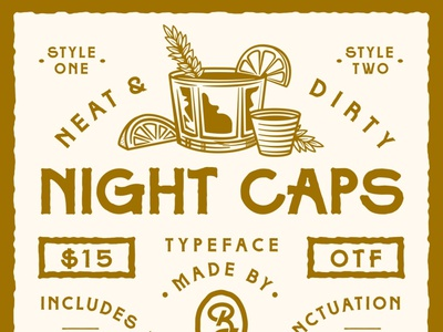Night Caps Display Font alcohol whiskey typeface new font resources font apparel identity lettering packaging badge type logo branding illustration typography