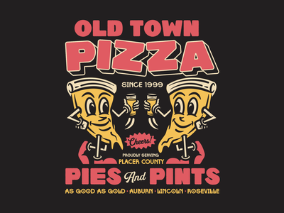OTP Merch craft beer lettering beer apparel identity badge illustration branding typography mascot character pizza