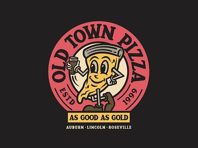 OTP Merch V3 crust california gold halftones vintage craft beer beer identity badge branding typography illustration character mascot pizza