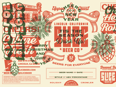 Slice Holiday Crowler holidays new year christmas hops california slice crowlers craft beer brethren lettering packaging beer identity logo badge illustration branding typography