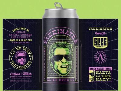 Hasta La Vista, Hazy west coast craft beer packaging beer badge branding illustration vaccine terminator