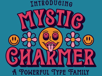 Mystic Charmer charm flowers smiley face mystic font resources brethren lettering packaging apparel identity badge illustration branding typography