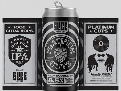 Platinum Cuts vinyl platinum music records craft beer packaging beer illustration badge typography branding